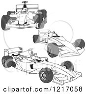Clipart Of F1 Race Cars Royalty Free Vector Illustration by dero