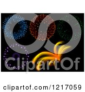 Clipart Of Fireworks On Black Royalty Free Vector Illustration by dero