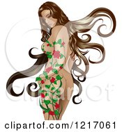 Clipart Of A Nude Woman With Long Brunette Hair Looking Back Over Her Shoulder And A Vine Growing Up Her Body Royalty Free Vector Illustration by dero