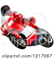 Clipart Of A Rider On A Ducati Bike Royalty Free Vector Illustration