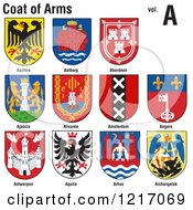Clipart Of Coats Of Arms Royalty Free Vector Illustration