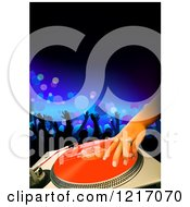 Clipart Of A Dj Mixing A Record At A Club Royalty Free Vector Illustration