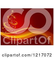 Clipart Of A Red Background With A Christmas Tree And Wave Royalty Free Vector Illustration