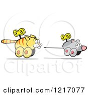 Clipart Of A Wind Up Cat Chasing A Mouse Royalty Free Vector Illustration by Johnny Sajem