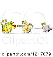 Clipart Of A Wind Up Dog Chasing A Cat And Mouse Royalty Free Vector Illustration