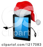 3d Christmas Tablet Computer Mascot Pointing