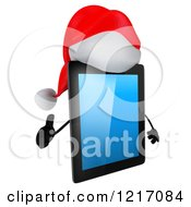 3d Christmas Tablet Computer Mascot Holding A Thumb Up