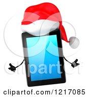 3d Christmas Tablet Computer Mascot Shrugging