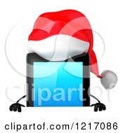 3d Christmas Tablet Computer Mascot Over A Sign