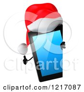 3d Christmas Tablet Computer Mascot Holding A Thumb Up By A Sign