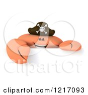 Clipart Of A 3d Pirate Crab Over A Sign Royalty Free Illustration
