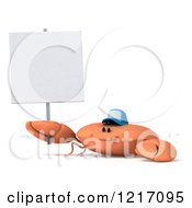 Clipart Of A 3d Crab Wearing A Baseball Cap And Holding A Sign Royalty Free Illustration