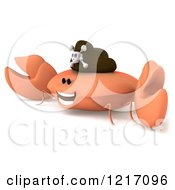 Clipart Of A 3d Pirate Crab Grinning Royalty Free Illustration