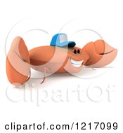 Clipart Of A 3d Crab Wearing A Baseball Cap 2 Royalty Free Illustration