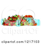Clipart Of Canning Jars And A Pile Of Fall Harvest Fruits Royalty Free Illustration