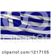 Clipart Of A 3d Waving Flag Of Greece With Rippled Fabric Royalty Free Illustration