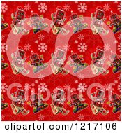 Clipart Of A Seamless Background Of Vintage Robots On Red With Snowflakes Royalty Free Illustration