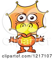 Clipart Of A Cute Orange Baby Dinosaur Royalty Free Vector Illustration