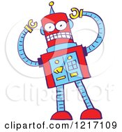 Clipart Of A Bad Robot Royalty Free Vector Illustration