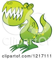 Clipart Of A Green Angry T Rex Royalty Free Vector Illustration