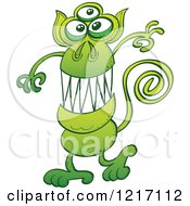 Clipart Of A Green Three Eyed Alien Monkey Royalty Free Vector Illustration