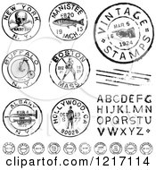 Clipart Of Vintage Black And White Postmark Stamps And Letters Royalty Free Vector Illustration