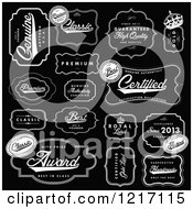 Clipart Of Vintage Black And White Quality Labels Royalty Free Vector Illustration