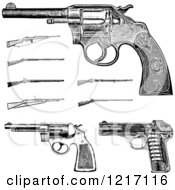 Clipart Of Vintage Black And White Pistols And Rifles Royalty Free Vector Illustration