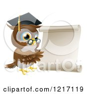 Clipart Of A Professor Owl With Glasses And Graduation Cap Pointing To A Scroll Royalty Free Vector Illustration by AtStockIllustration