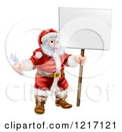 Clipart Of Santa Holding A Spanner Wrench And Sign Royalty Free Vector Illustration