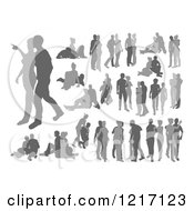 Clipart Of Grayscale Silhouetted Couples Royalty Free Vector Illustration