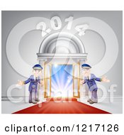 Clipart Of A New Year 2014 Venue Entrance With A VIP Red Carpet And Welcoming Friendly Doormen Royalty Free Vector Illustration by AtStockIllustration