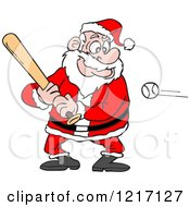Clipart Of A Sporty Santa Baseball Batter Royalty Free Vector Illustration by LaffToon