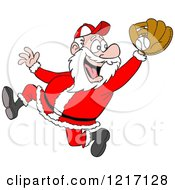 Clipart Of A Sporty Santa Baseball Player Catching Royalty Free Vector Illustration by LaffToon
