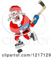 Clipart Of A Sporty Santa Hockey Player Royalty Free Vector Illustration by LaffToon