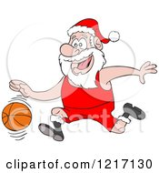 Clipart Of A Sporty Santa Basketball Player Royalty Free Vector Illustration by LaffToon