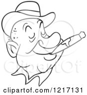 Outlined Happy Man Wearing A Derby Hat And Smoking A Cigar