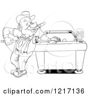Clipart Of An Outlined Happy Man In A Derby Hat Smoking A Cigar And Playing Pool With A Beer Royalty Free Vector Illustration