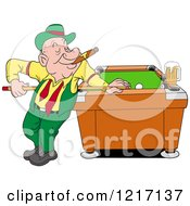 Happy Irish Man In A Derby Hat Smoking A Cigar And Playing Pool With A Beer