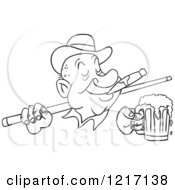 Clipart Of An Outlined Man Wearing A Derby Hat Smoking A Cigar Holding A Beer And A Pool Cue Stick Royalty Free Vector Illustration