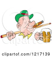 Clipart Of An Irish Man Wearing A Derby Hat Smoking A Cigar Holding A Beer And A Pool Cue Stick Royalty Free Vector Illustration by LaffToon