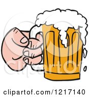 Hand Holding A Mug Of Beer With Froth Spilling Over