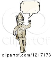Cartoon Of An Old Fashioned Soldier Speaking Royalty Free Vector Illustration by lineartestpilot