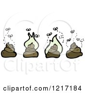 Cartoon Of Stinking Piles Of Poop Royalty Free Vector Illustration