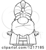 Clipart Of A Black And White Bored Sultan Royalty Free Vector Illustration
