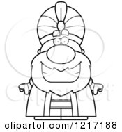 Clipart Of A Black And White Happy Grinning Sultan Royalty Free Vector Illustration