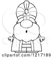 Clipart Of A Black And White Surprised Sultan Royalty Free Vector Illustration