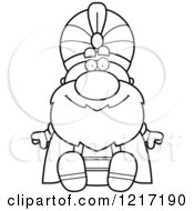 Clipart Of A Black And White Happy Sitting Sultan Royalty Free Vector Illustration