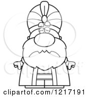 Clipart Of A Black And White Depressed Sultan Royalty Free Vector Illustration