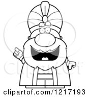 Clipart Of A Black And White Smart Sultan With An Idea Royalty Free Vector Illustration